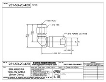 231-50-20-420:  SMA MALE R/A TO LL142 CABLE (SOLDER CLAMP)