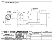 235-50-20-790:  SMA MALE TO HF-290 CABLE (SOLDER CLAMP) with LOCK WIRE HOLES