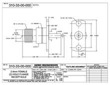 310-33-00-000:  2.4mm FEMALE (2) HOLE FLANGE RECEPTACLE
