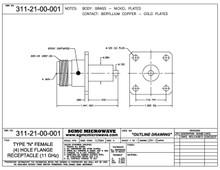 311-21-00-001:  N FEMALE (4) HOLE FLANGE RECEPTACLE, EPOXY CAPTIVATED (NICKEL PLATED) 11 GHz