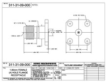311-31-09-000:  1.85mm FEMALE (4) HOLE FLANGE RECEPTACLE, (ACCEPTS .009 DIA PIN)