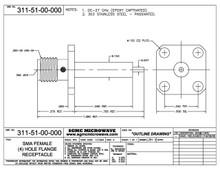 311-51-00-000:  SMA FEMALE (4) HOLE FLANGE RECEPTACLE (26.5 GHz) EPOXY CAPTIVATED
