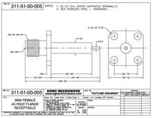 311-51-00-005:  SMA FEMALE (4) HOLE FLANGE RECEPTACLE (26.5 GHz) INTERNALLY CAPTIVATED