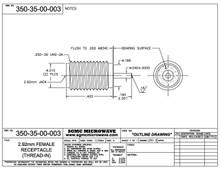 350-35-00-003:  2.92mm FEMALE RECEPTACLE, SPARKPLUG (.400L X .040D X .160L PROBE)