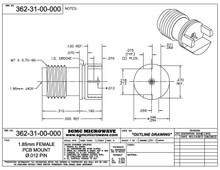 "362-31-00-000:  1.85mm FEMALE PCB EDGE MOUNT / .012"" DIA PIN (.062"" BOARD THICKNESS)"