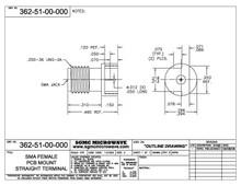 """362-51-00-000:  SMA FEMALE, PCB EDGE MOUNT / .012 DIA PIN (.062"""" BOARD THICKNESS)"""