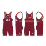 Nike Youth USAWR Grappler Elite Tour Wrestling Singlet - Red