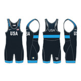 Nike Youth USAWR Grappler Elite Tour Wrestling Singlet - Navy