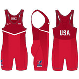 Nike Men's USAWR Grappler Elite Tour 2  Wrestling Singlet - Red