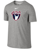 Nike Men's USAW 3-D High Density Silicone Logo Team Legend SS Crew - Grey