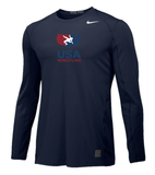 Nike Men's USAWR L/S Pro Cool Fitted Compression Tee - Navy/White