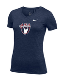 Nike Women's USAW Short Sleeve Dri Fit V-neck Tee - Navy/White