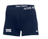 "Nike Women's Weightlifting 3"" Pro Short - Navy/White"