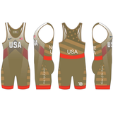 Nike Men's USAWR Budapest Tour Wrestling Singlet - Gold