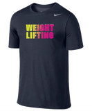 Nike Weightlifting Dri Fit Cotton Tee - Navy / Volt / Pink