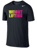 Nike Weightlifting Dri Fit Cotton Tee - Black / Volt / Pink