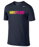 Nike Wrestling Dri Fit Cotton Tee - Navy / Volt / Pink