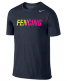 Nike Fencing Dri Fit Cotton Tee - Navy / Volt / Pink