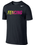 Nike Fencing Dri Fit Cotton Tee - Black / Volt / Pink
