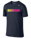 Nike Boxing Dri Fit Cotton Tee - Navy / Volt / Pink