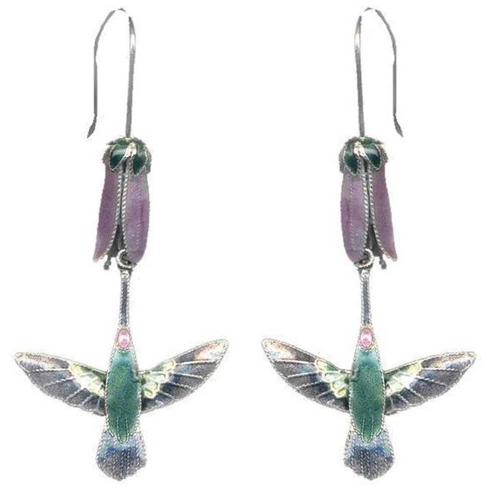 Hummingbird & Pink Flower Cloisonne Wire Earrings | Bamboo Jewelry | BJ0014e