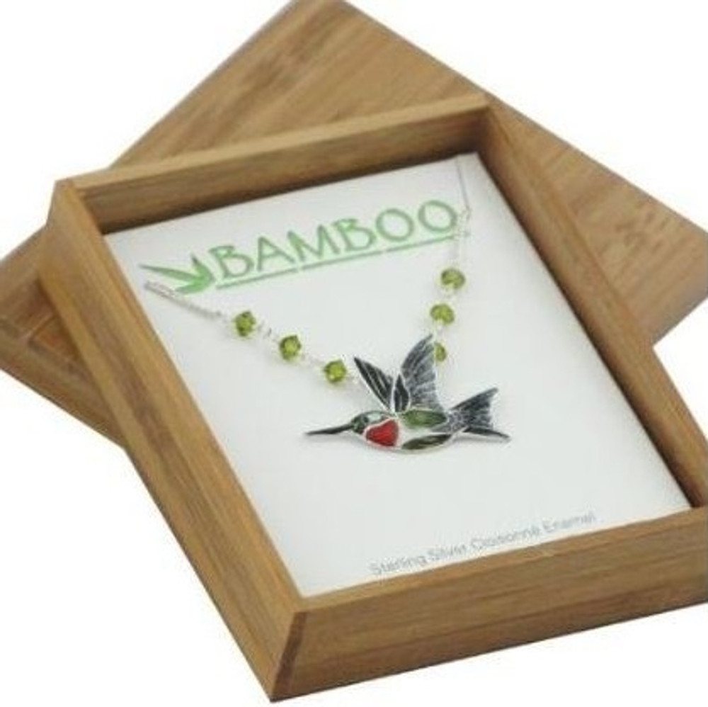 Ruby Throated Hummingbird Cloisonne Pendant Necklace | Bamboo Jewelry | BJ0107sn -2