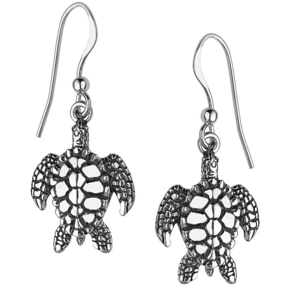 Sea Turtle Sterling Silver Wire Earrings | Kabana Jewelry | Ke191