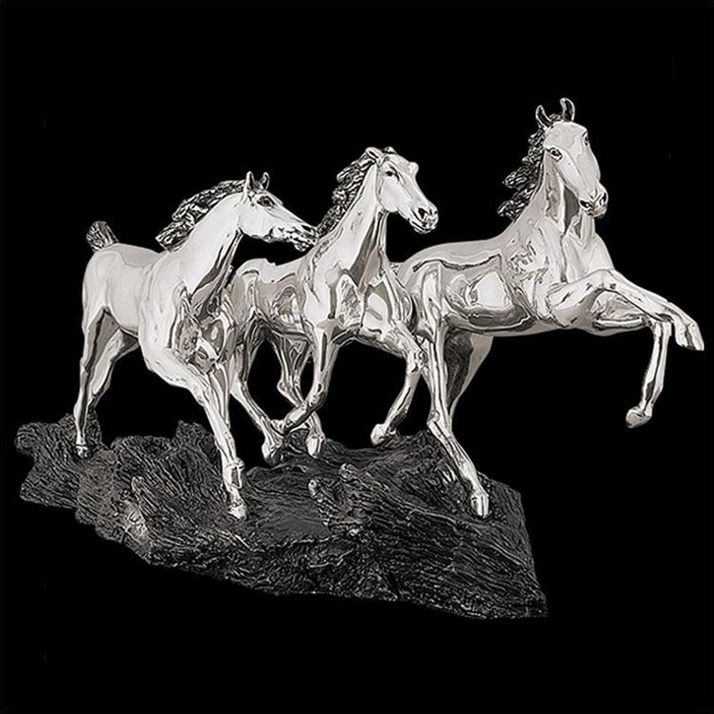 Wild Horses Running Silver Plated Sculpture | 8021 | D'Argenta