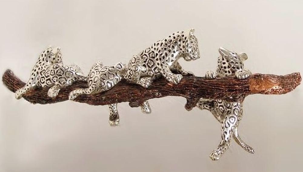 Jaguar Cubs On Branch Silver Plated D Argenta