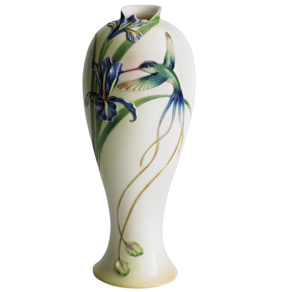 Long Tail Hummingbird Vase   fz00127   Franz Porcelain Collection