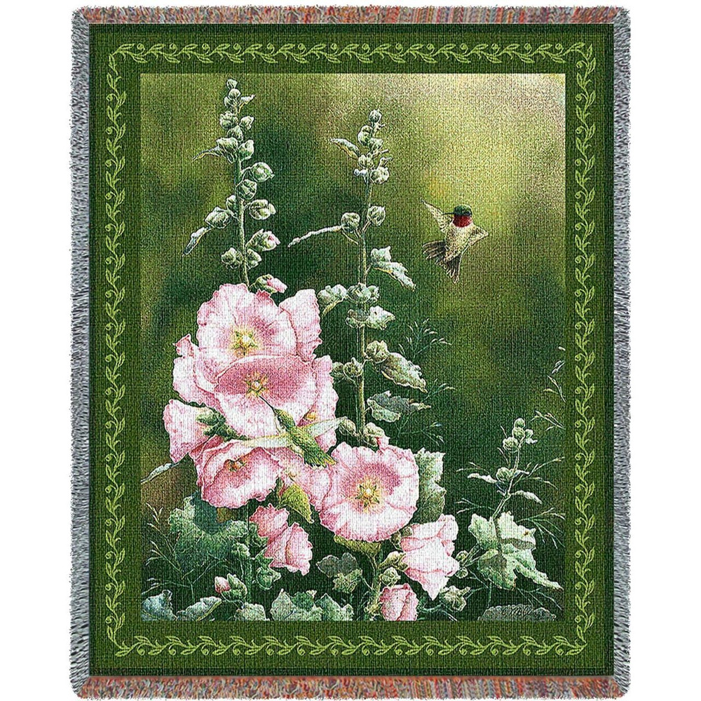Hummingbird Woven Throw Blanket Hollyhock Hummer | Pure Country | pc2304T