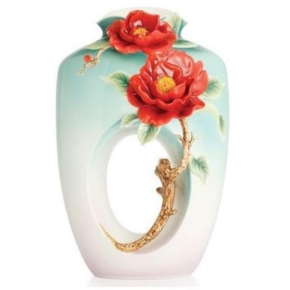 Red Camellia Flower Porcelain Vase | FZ02677 | Franz Porcelain Collection -2