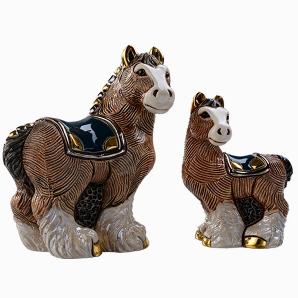 Clydesdale Horse and Baby Ceramic Figurine Set | De Rosa | Rinconada | F191-F391