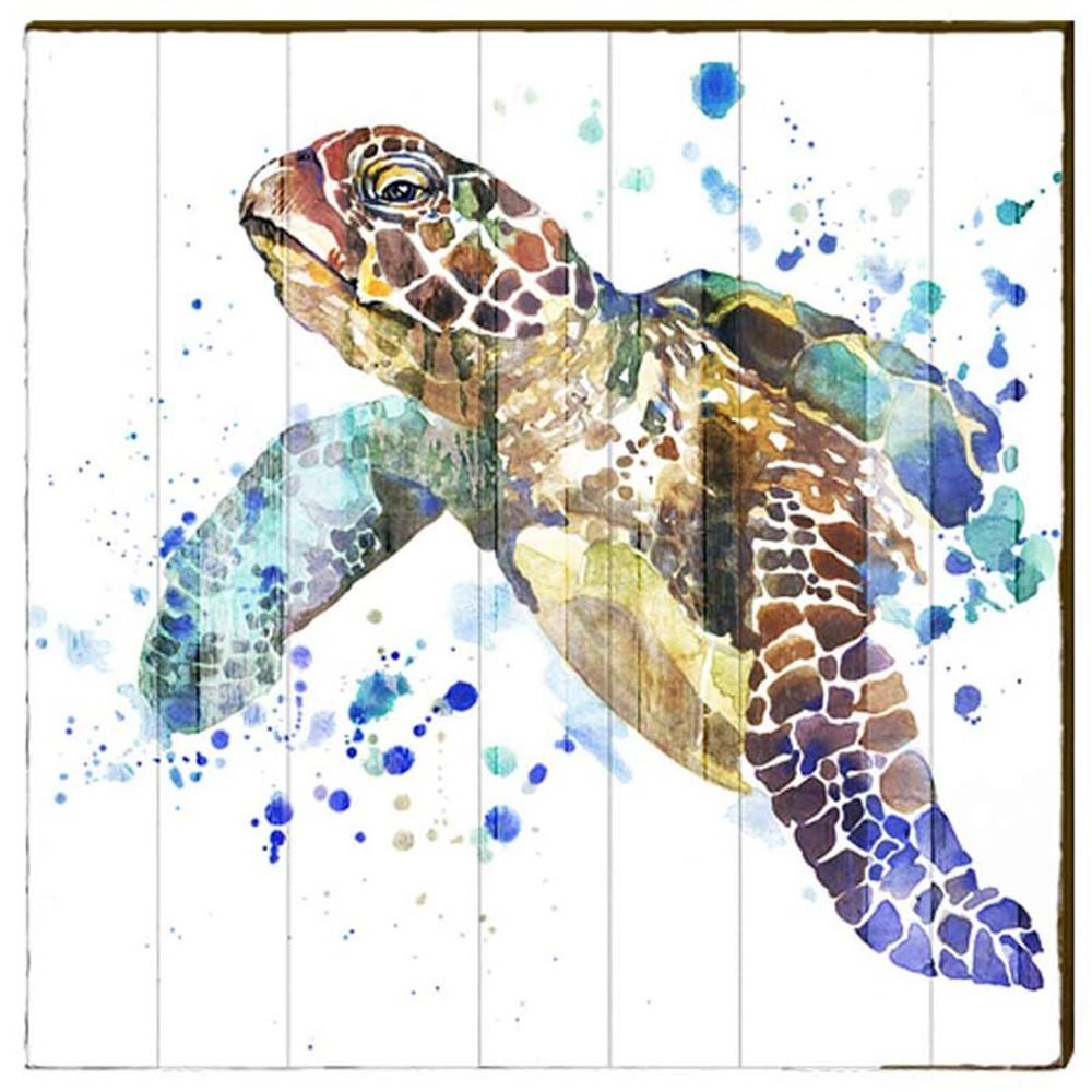 Sea Turtle Watercolor Wood Art 30x30 Mill Wood Art
