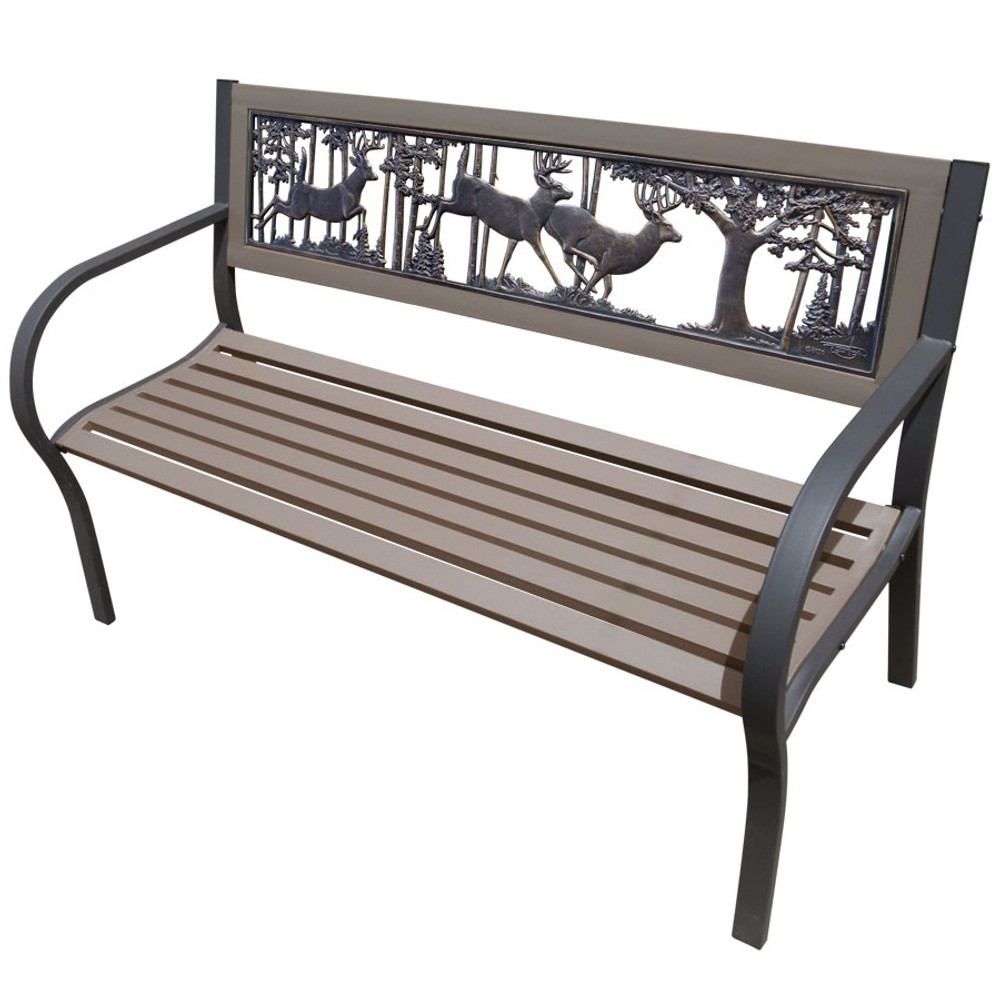 Deer 2 tone tube steel outdoor bench bucks bench for Painted outdoor benches