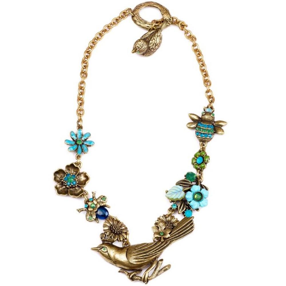 Bird and Bee  Asymmetrical Flower Necklace  | La Contessa Jewelry | NK9421GB