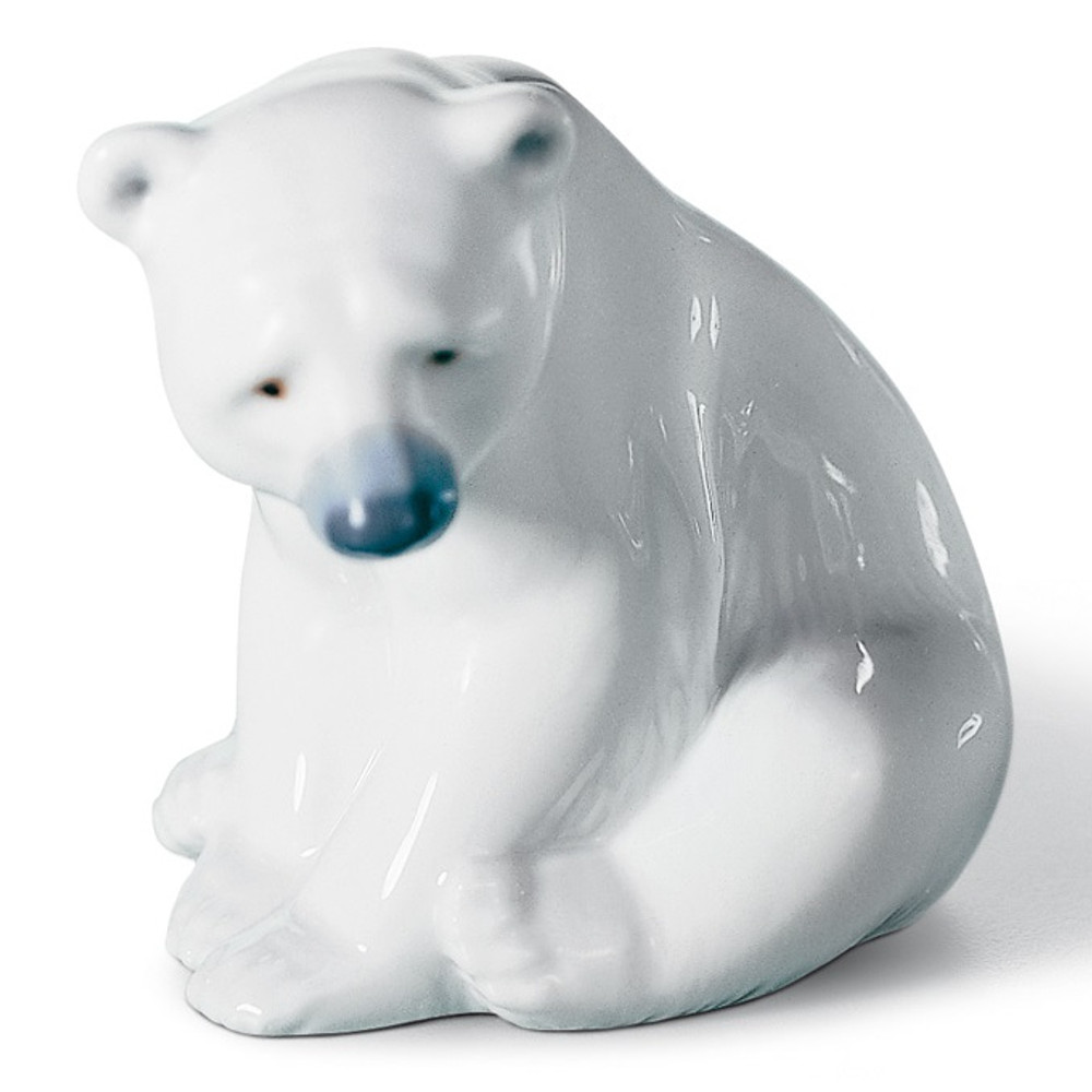 Seated Polar Bear Porcelain Sculpture Lladro Seated