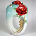 Red Camellia Flower Porcelain Vase | FZ02677 | Franz Porcelain Collection