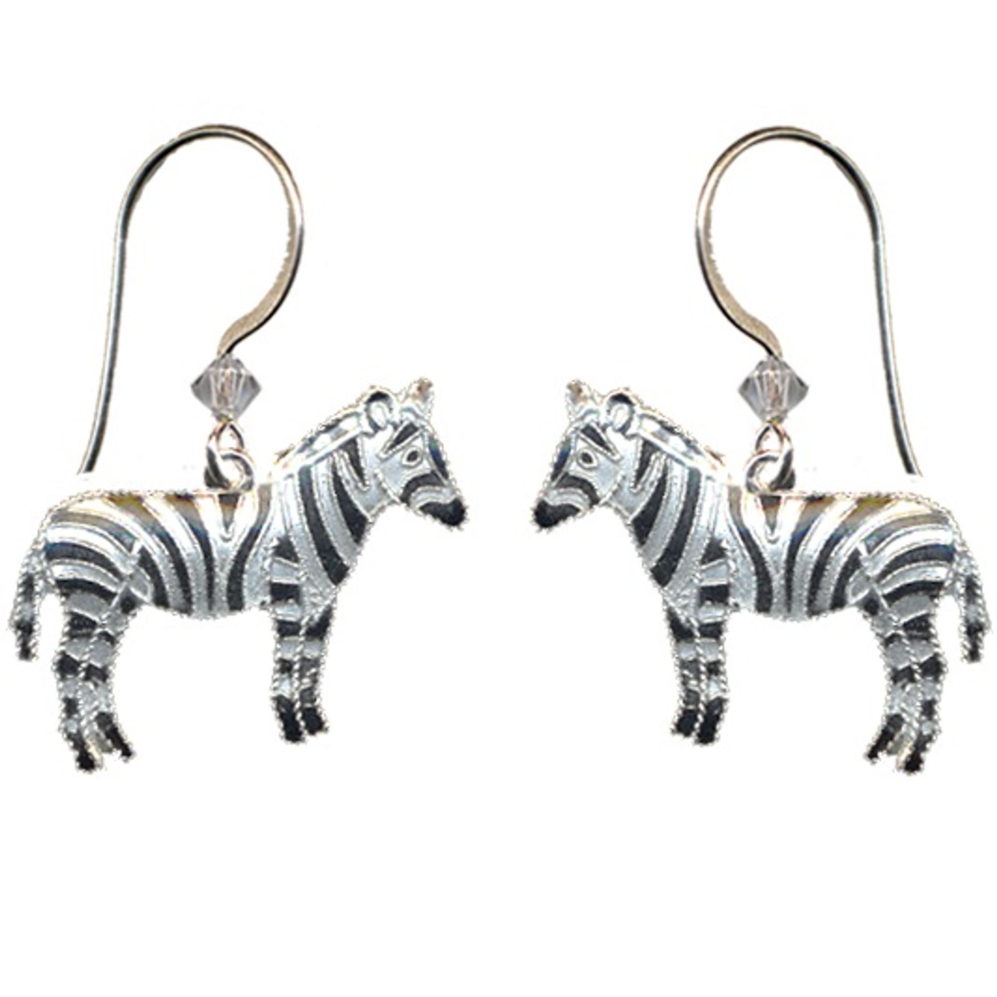Zebra Earrings   Cloisonne Jewelry   Wire Earrings