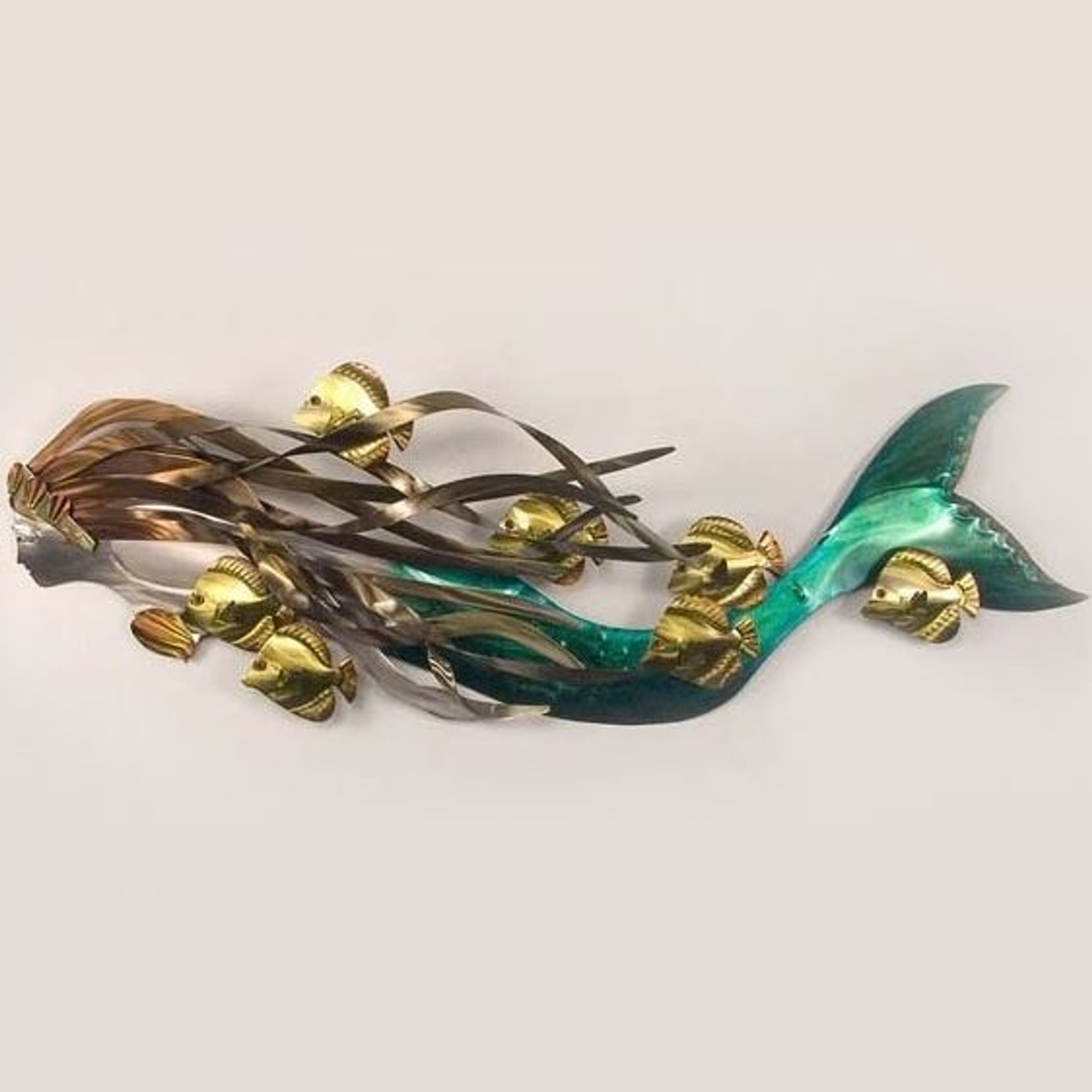 Ti Design Wall Art : Fish and mermaid metal wall sculpture t i design