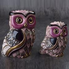 Long Eared Owl and Baby Ceramic Figurine Set | Rinconada