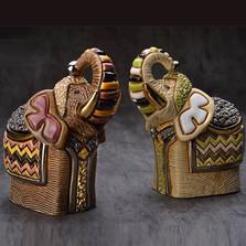 Festival Elephant Ceramic Figurine Set | Rinconada