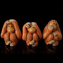 Orangutan Ceramic Figurine Set of 3 | Rinconada