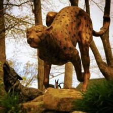 Cheetah Running Bronze Statue