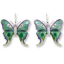 Butterfly Enameled Silver Plated Wire Earrings | Nature Jewelry