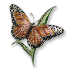 Monarch Butterfly Enameled Silver Plated Pin | Nature Jewelry