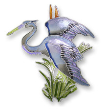Great Blue Heron Enameled Silver Plated Pin| Zarah Jewelry | 21-38-Z2