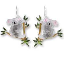 Koala Bear Enameled Wire Earrings | Nature Jewelry