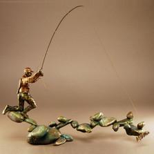"Fishing Bronze Sculpture ""Boulder Creek"" | 21055"