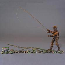 "Fishing Bronze Sculpture ""Casting Call"" | 21057"